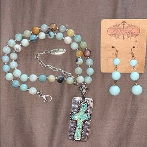 Plunder silver / mint cross necklace and earrings